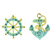 Blue on Gold Plated Hello Sailor! Nautical Anchor Earrings