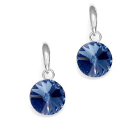 Dark Blue. Crystal Earrings Round 925 Sterling Silver, Made with. Elements by Spark