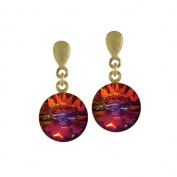 Rivoli Volcano. Crystal Gold Drop Earrings