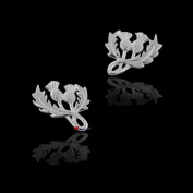 Sterling Silver Stud Earrings with Scottish Thistle and Looped Stem