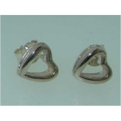 Luxury Sterling Silver Shiny Finish Designer Heartl Earrings - Ideal for Christmas, Birthday or Anniversary Gift