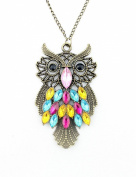 WorldTree Fashion Vintage Bronze Style Owl Bird Animal Pendants Long Chain Necklace,free shipping