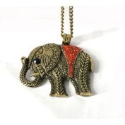 Vintage Bronze Tone Red Crystal Elephant Necklace on Long Chain