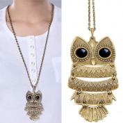 Accessotech Vintage Copper Bronze Lovely Gift Owl Charm Pendant Necklace Retro Long Chain
