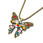 Zehui Retro Style Colourful Crystal Butterfly Long Chain Necklace Fashion Pendant