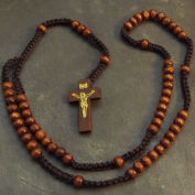 Wood wooden dark brown long cord rosary beads necklace 61cm