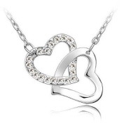 Hearts necklace with. crystals plated- colour white diamond crystals