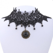 Yazilind jewellery Collar Necklace Gothic/Victorian Style Lolita Beads Tassel Stone Black Choker Necklace Punk for Women Length