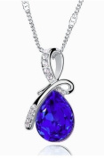 Silver Plated Gemstone Blue Sapphire Oval Teardrop Pendant Necklace