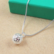 Topstaronline®925 silver plated hollow ball pendant + 18'necklace