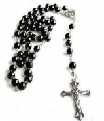 Black Bead Rosary. Rosary in black. Rosary to wear. Rosary necklace.Glass rosary