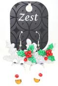 Zest Silver Christmas Rudolph Earrings + Wiggly Eyes & a Bell for Pierced Ears