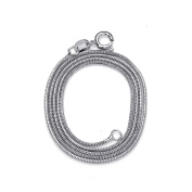 JewelryWe Stainless Steel Titanium 1.0mm Round Chain Snake Link Necklace 17""