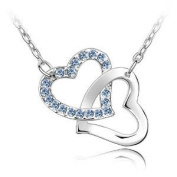 Frost©Rhodium Plated. element crystals - Double heart hook necklace Including 925 Silver Singapore Chain '18 inch-Blue Crystal