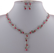Jay Jewellery - Bright Pink acrylic crystal silver tone necklace with earrings