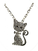 Jay Jewellery - Silver tone chain with kitty cat charm and clear rhinestone crystals