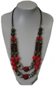 Zest Chunky Red, Brown & Gold Coloured Beads 2 Strand Necklace on Leather Cord