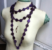 Long Coconut Necklace - 150cm - Purple - Extra Long Fashion Necklace Casual Style