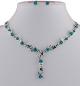 Jay Jewellery - Turquoise metal rose and acrylic crystal silver tone necklace with earrings