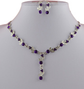 Jay Jewellery - Purple acrylic crystal silver tone necklace with earrings