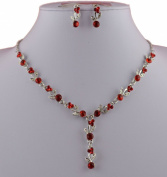 Jay Jewellery - Red acrylic crystal silver tone necklace with earrings