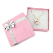 Gorgeous cupcake necklace - funky 3D cupcake pendant with pink icing and multi colour diamante sprinkles - includes pink gift box