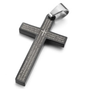 Justeel Men Stainless Steel Pendant Necklace Black Cross Bible Lords Prayer Polished , 60cm inch Chain(with Gift Bag) (Width