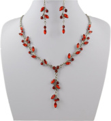 Jay Jewellery - Red Acrylic Crystal Leaf Necklace and Earrings Set