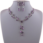 Jay Jewellery - Lilac Acrylic Crystal Leaf Necklace and Earrings Set