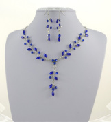 Jay Jewellery - Royal Blue Acrylic Crystal Leaf Necklace and Earrings Set