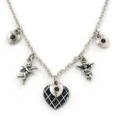 Romantic Hearts & Angels Charm Necklace In Silver Tone - 40cm Length/ 6cm Extension
