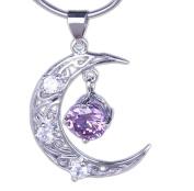 "Orien 1pc 26*19mm Amethyst Moon Dangle 925 Sterling Silver Charms Pendant 18"" Necklace Chain Jewellery Fashion Women"
