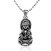 JewelryWe Fashion 316l Stainless Steel Kwan Yin or Guan Yin Goddess of Mercy Pendant Necklace Never Fade