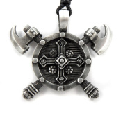 Mystical & Magical Pewter Viking Nordic Shield Double Battle Axe Protection Amulet Pendant