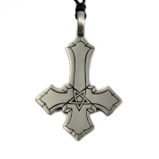 Mystical & Magical Pewter A Simple Inverted Pentagram Cross Pendant Pagan Gothic Pentacle - supplied on an adjustable black rope necklace