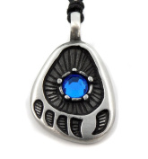 Mystical & Magical Pewter BLUE - Native American Red Indian Bear Paw Print Strength Power Pendant