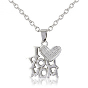 Silver 'I Love You Mom necklace', includes a textured silver heart