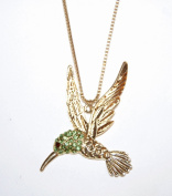 Green Crystal Studded Hummingbird Pendant on a Gold Chain Long Necklace (In Gift Pouch) Cute Quirky Kitsch Unique Fashion Jewellery