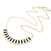 Black/White Monochrone Small Spike Panel Gold Tone Necklace