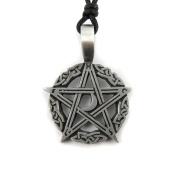 Mystical & Magical Pewter Celtic Pentagram Moon Knotwork Gothic Pagan Pendant Necklace