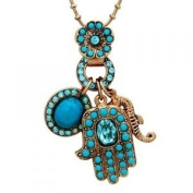 Hand necklace -Frost Jewellery. Made of brass, the Hamsa necklace is gold plated and set with semi-precious stones,turquoise and. crystals. This beautiful necklace,The hand is a traditional oriental motif that is believed to provide protection ..