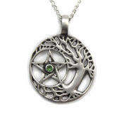 Mystical & Magical Pewter Sacred Druid Tree of Life - On 46cm chain Necklace - Celtic Sacred Pentagram Pentacle Wiccan Pagan Necklace Pendant