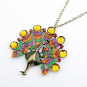 Burnished Gold & Multi Colour Green/Orange/Red/Yellow Diamante Peacock Pendant Fashion Necklace