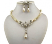 Jay Jewellery - Cream glass pearl necklace with rhinstone flower centre with earrings