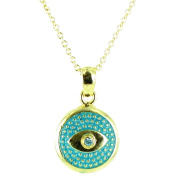 Blue on Gold Plated Small Round Evil Eye Symbol Necklace