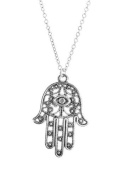 Hamsa Healing Hand Necklace Sil - Gift Boxed
