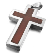 Justeel Men Stainless Steel Wood Pendant Necklace Silver Brown Cross , 60cm inch Chain(with Gift Bag) (Width