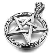 Justeel Men Stainless Steel Pendant Necklace Silver Pentagram Star , 60cm inch Chain(with Gift Bag) (Width
