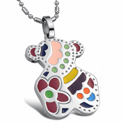 OPK South Korea Style New Fashion Colourful Little Bear Titanium Stainless Steel Women's Pendant Necklace Best Gift!