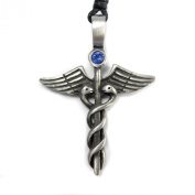 Mystical & Magical Pewter Caduceus Blue. Element Crystal Medical Healing Symbol Tribal Pendant Necklace.